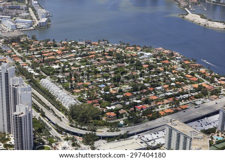 Aerial image of a residential housing neighborhood - stock photo
