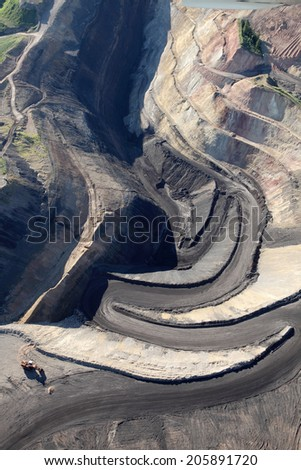 Aerial image of an open pit phosphate mine - stock photo