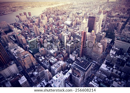 aerial image of new york city - stock photo