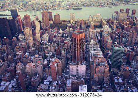 aerial image of new york city - stock photo