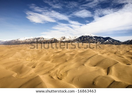 Aerial landscape of sand dunes in Great Sand Dunes National Park, Colorado. - stock photo