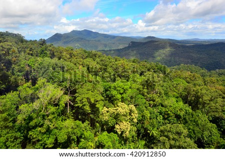 Aerial landscape view of Barron Gorge National Park a World Heritage in Atherton Tablelands / Cairns Highlands at the Wet Tropics of Queensland, Australia. - stock photo