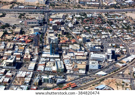 Aerial look at the heart of downtown Tucson, Arizona - stock photo
