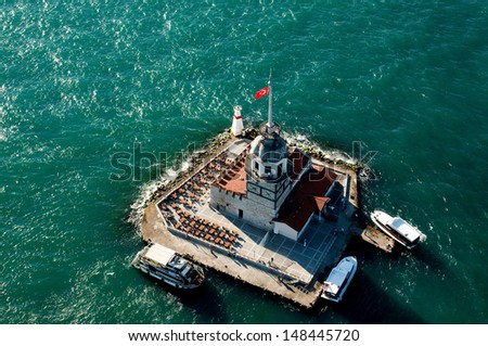 Aerial Maiden's Tower - stock photo