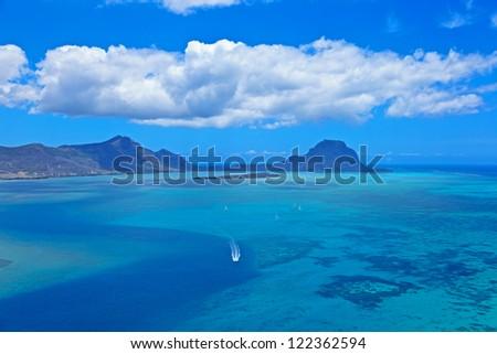 Aerial Mauritius - stock photo