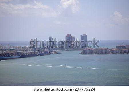 Aerial Miami scene - stock photo