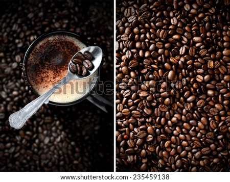 Aerial montage of Arabica, Barista dark roasted coffee beans and frothy mocha coffee in a mug. - stock photo