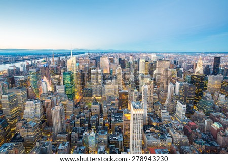 Aerial New York City skyline urban skyscrapers at dusk, USA. - stock photo