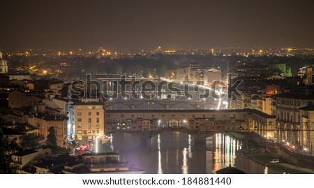 Aerial night view of Ponte Vecchio, Old Bridge in Florence.