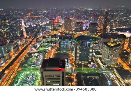 Aerial night view of Yokohama Cityscape - stock photo