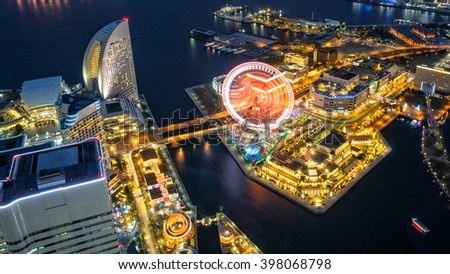 Aerial night view of Yokohama Cityscape and bay at Minato Mirai waterfront district - stock photo