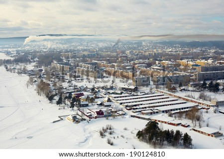 aerial northern city  - stock photo