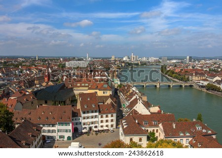 Aerial of Basel downtown in Switzerland from the Munster. - stock photo