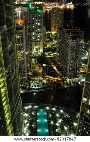 Aerial of Brickell Key at Night - stock photo