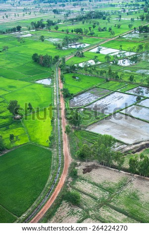 aerial of countryside  - stock photo
