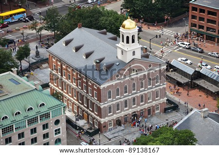 Aerial of Faneuil Hall on Freedom Trail, Boston, Massachusetts, USA - stock photo
