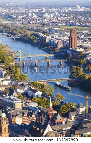 aerial of Frankfurt an Main with view to river Main in the evening - stock photo