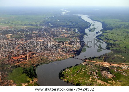 Aerial of Juba, the capital of South Sudan, with river Nile on the right - stock photo