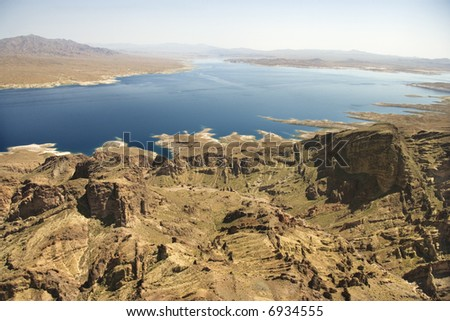 Aerial of Lake Mead landscape in Nevada, USA. - stock photo