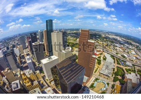 aerial of modern buildings in downtown Houston in daytime - stock photo