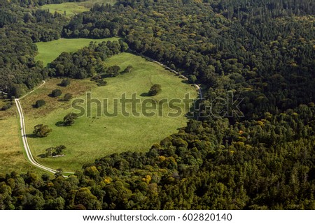 Aerial of round shaped green meadow