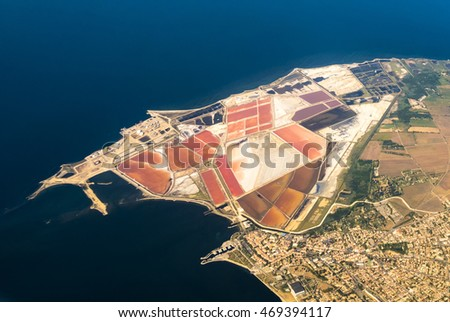 aerial of Salines in France with oil tanks near Marseille