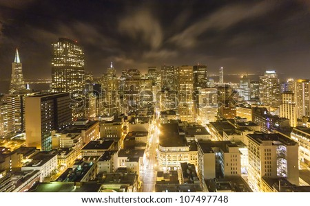 aerial of San Francisco by night - stock photo