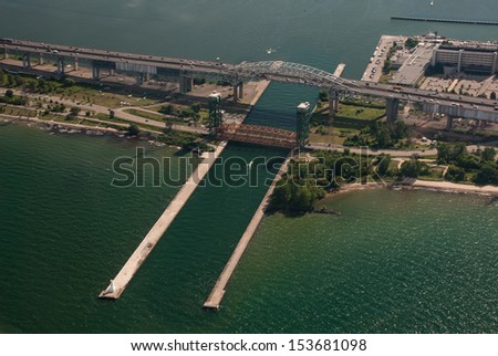 Aerial of Skyway bridge along lake shore - stock photo