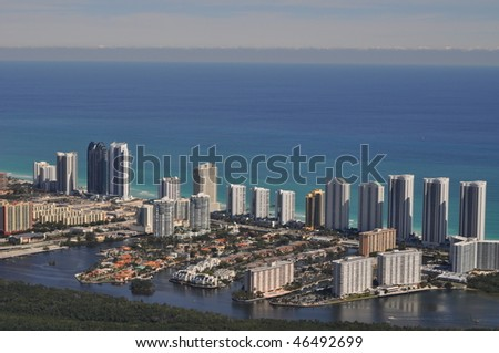 Aerial of Sunny Isles Beach from the West - stock photo