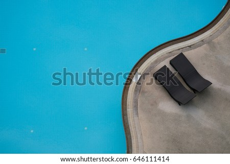 aerial or top view of swimming pool with bed - Rectangle Pool Aerial View