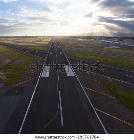 Aerial overlook of an international Hawaii airport - stock photo