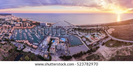 Aerial. Panorama from the sky, tourist resort Vilamoura. Algarve Portugal