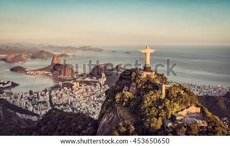 Aerial panorama of Botafogo Bay and Sugar Loaf Mountain at sunset, Rio De Janeiro, Brazil
