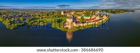 Aerial Panorama of Kirillo-Belozerskiy Monastery in Northern Russia - stock photo