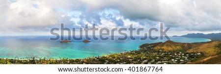 Aerial panorama of Lanikai in Kailua, Hawaii, overlooking beach from mountain top - stock photo