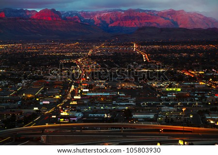 Aerial panorama of Las Vegas - stock photo