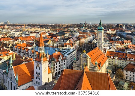 Aerial panorama of Munich city center, Germany - stock photo