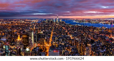 Aerial panorama of New York after sunset - stock photo