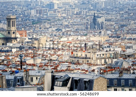 Aerial panorama of Parisian roofs. Top view - stock photo