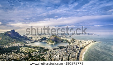 Aerial panorama of Rio de Janeiro in Brazil - stock photo