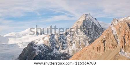 Aerial Panorama of Tasman Glacier and Mountain cook New Zealand - stock photo