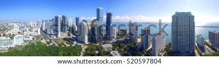 Aerial panoramic image of Brickell Miami FL