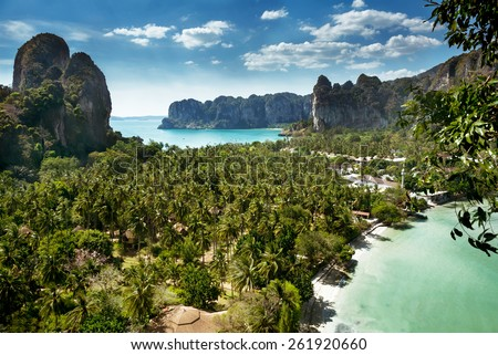 Aerial panoramic view from cliff on railay beach krabi thailand  - stock photo