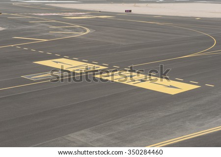 Aerial panoramic view of a commercial airport runway with connections and taxiways