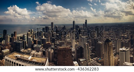 Aerial panoramic view of downtown Chicago