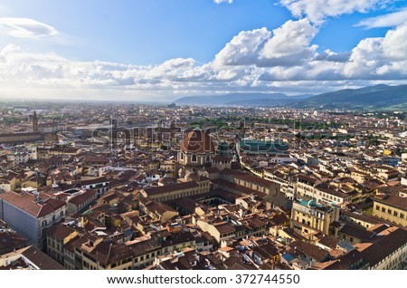 Aerial panoramic view of Florence from one of many towers, Tuscany, Italy - stock photo