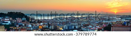 Aerial panoramic view of Lisbon at the sunset . Portugal - stock photo