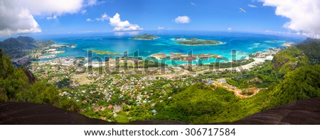 Aerial panoramic view of Mahe coastline, Seychelles - stock photo