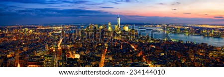 Aerial panoramic view of Manhattan at dusk, New York City - stock photo