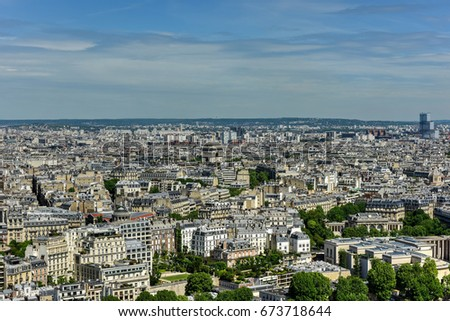 Aerial panoramic view of Paris, France in the summer.